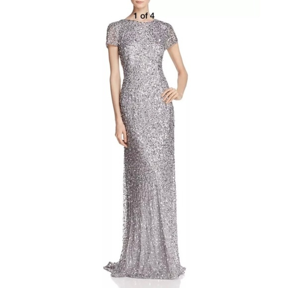 888db842 Adrianna Papell Dresses | New Sequin Scoop Back Gown Silver | Poshmark